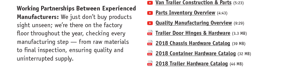 Working Partnerships Between Experienced Manufacturers: We just don't buy products sight unseen; we're there on the factory floor throughout the year, checking every manufacturing step -- from raw materials to final inspection, ensuring quality and uninterrupted supply.